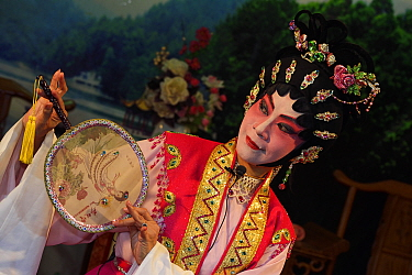 Cantonese Opera actor performing in the Li Wan park, Guangzhou, Guangdong, China November 2015.