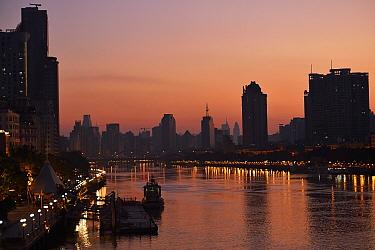 Guangzhou harbour at sunset, Guangdong, China November 2015.