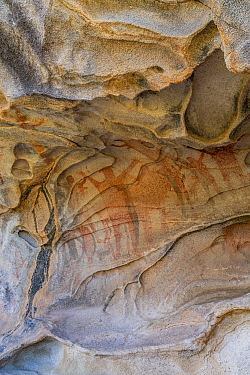 Cave with pictographs depicting people with arms spread dating from 10,000 years ago. El Vizcaino Biosphere Reserve, Baja California Sur, Mexico. 2020.