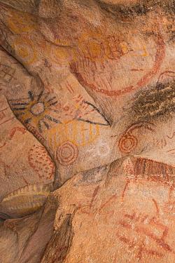 Rock art in cave, several circles and depiction of sun. Near Catavina, Valle de los Cirios Reserve, Northern Baja California, Mexico. 2008.