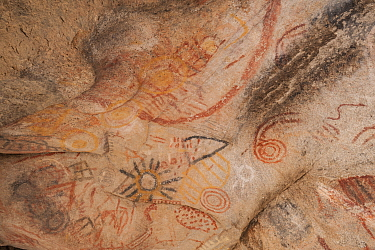 Rock art in cave, several circles and depiction of sun. Near Catavina, Valle de los Cirios Reserve, Northern Baja California, Mexico. 2008.