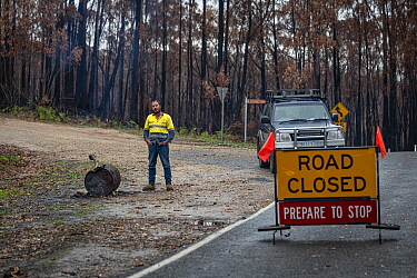 Tim Merx who is doing his 12-hour shift manning a road block on the Bonang Road, as a result of the bushfires. Victoria, Australia. February 2020?. Editorial use only