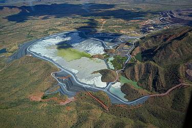 Aerial view of the tailings dam, Argyle diamond mine , Kimberley, Western Australia.