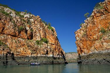 Tourist zodiac inspecting the Horizontal Falls at slack tide, Talbot Bay, Kimberley coast, Western Australia