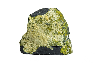 Strunzite, phosphate triclinic-pinacoidal mineral containing hydrogen, iron, manganese, oxygen, and phosphorus against white background
