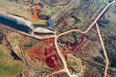 Aerial view 10 years after dams burst near Ajka, Hungary. This released red mud / alumina a highly alkaline waste product produced by the industrial production of aluminium. It destroyed two villages...