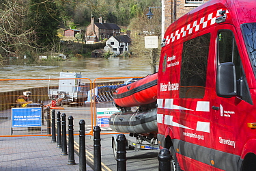 Fire and rescue service vehicle and equipment beside River Severn in flood conditions. After Storm Ciara and Storm Dennis, the wettest February recorded in the UK. Ironbridge, Shropshire, England, UK....