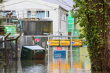 Ambleside sewage works under water during floods caused by Storm Ciara. Rothay Bridge, Ambleside, Lake District, England, UK. February 2020.