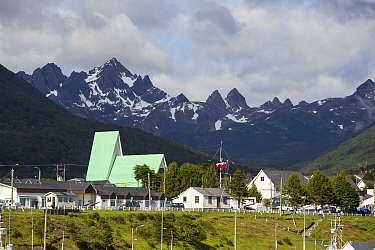 Puerto Williams, the most southerly town in the world, mountain range in background. Navarino Island, Magallanes, Chile. January 2020.