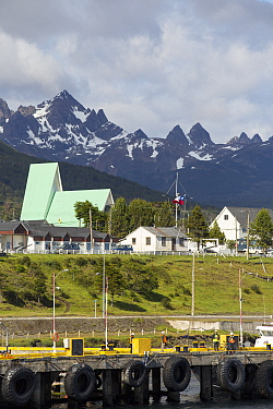 Puerto Williams, the most southerly town in the world, jetty in foreground and mountains in background. Navarino Island, Magallanes, Chile. January 2020.