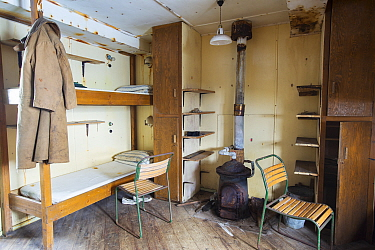 Bedroom as it left after researchers evacuated in 1959. Station W, a former British scientific research station. Detaille Island, Graham Land, Antarctica. 2020.