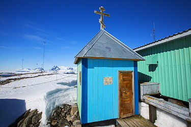 Small chapel in snow, Vernadsky Station Ukrainian research base, Galindez Island, Argentine Islands, Antarctica. 2019.