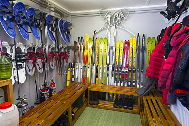 Equipment room with skis, snowshoes and coats. Vernadsky Station Ukrainian research base, Galindez Island, Argentine Islands, Antarctica. 2019.