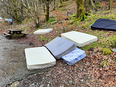 Mattreses fly tipped and illegally dumped in car park at edge of woodland. White Moss, near Ambleside, Lake District National Park, England, UK. February 2020.