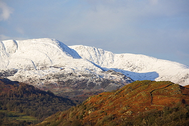 Wetherlam, snow capped in winter. Lake District National Park, Cumbria, England, UK. February 2020.