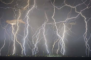 Lightning strikes above skyscrapers on Gold Coast coastline, composite image of strikes over a two hour period. Queensland, Australia. 2018.