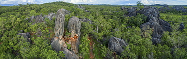 Aerial view of Balancing rock and forests in Chillagoe, an area with many limestone caves. Chillagoe-Mungana Caves National Park, Far North Queensland, Australia. 2017.