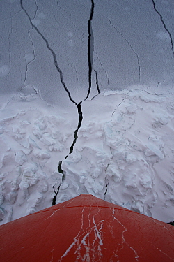Bow of the Aurora Australis into breaking through young ice, Antarctica. March 2015