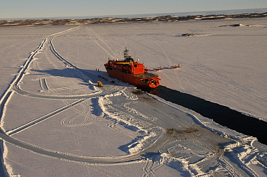 Aurora Australis Resupply vessel moored in fast ice in front of Davis station, cargo is being discharged by ice road. Two CASA planes parked next to the ship, Antarctica November 2005