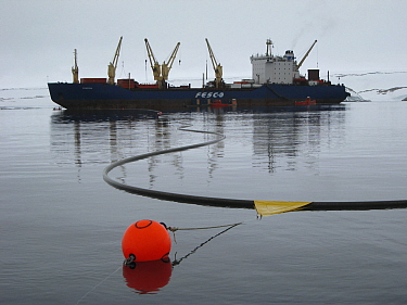 Refuelling at Casey Station is conducted with a 2000m long hose run from the ship, Antarctica  January 2009