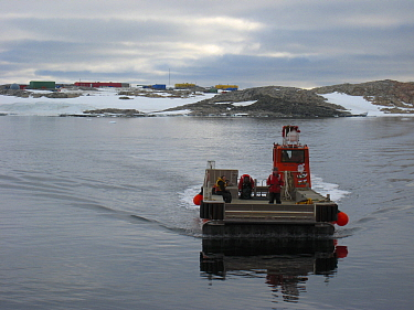 Jet barge used to transport the cargo to Casey station form the resupply ship, Antarctica. December 2010