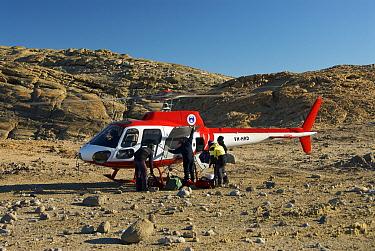 Helicopter landing in the Vestfold Hills, Antarctica February 2007