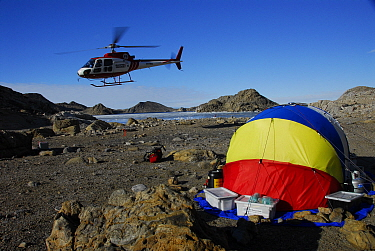 Helicopter landing at Geology Field Camp, Rauer Islands, Antarctica February 2007