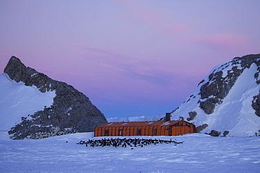 Storage building near Adelie penguin (Pygoscelis adeliae) colony, Dumont d'Urville station, Antarctica. November 2012