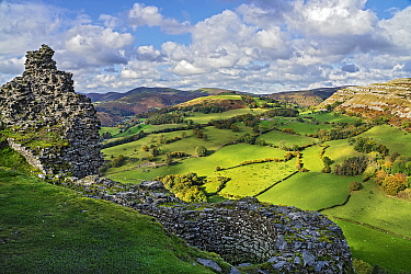 View looking looking north west from the ruined walls of Castell Dinas Bran with the Eglwyseg escarpment on the right and Llantysilio Mountain in the background North Wales, UK, October.