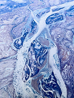 Frozen braided Amur River, aerial view. North of Petropavlovka, Russian Far East, Far East Russia. February 2020.