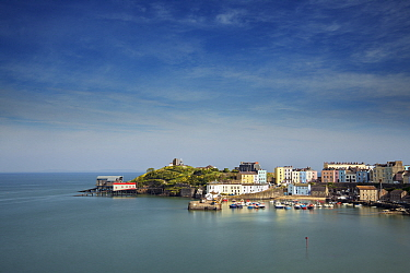 Fishing town of Tenby with RNLI lifeboat stations on headland. Pembrokeshire Coast National Park, Wales, UK. May 2019.