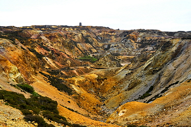 Opencast copper mine, rocks stained by copper and iron sulphide minerals. Parys Mountain was the world's largest copper mine in the 18th century. Amlwch, Anglesey, Wales, UK. July 2019.
