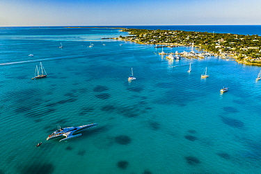 Yachts and sailing boats moored off coast of Harbour Island. Anchors, moorings and pollution have lead to only a few patches remaining of this formerly dense seagrass bed. Bahamas. 2019.