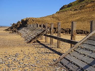 Cliff collapse over sea defence, Trimingham, Norfolk, UK, June