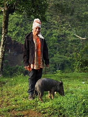 Papuan woman with domestic pig, portrait, rainforest in background. Bogo, Kerowagi District, Simbu Province, Papua New Guinea. 2019.