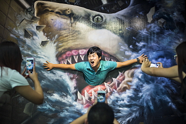 Tourist poses for a photo shoot with image of a Great white shark (Carcharodon carcharias) at Phuket Trickeye Museum, Phuket Province, Thailand, December 2015