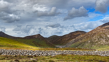 Drystone wall with dam wall of Silent Valley Reservoir in background, surrounded by mountains of Slieve Bearnagh, Ben Crom, Slieve Binnian, Slieve Lamagan and Slieve Commedagh. Mourne Mountains, Count...