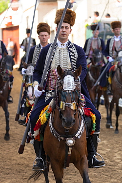 Men on horseback in traditional dress participating in Alka procession. Held on the first Sunday in August since 1715 the Alka commemorates the victory of Christians over Ottoman Turks. Inscribed on U...