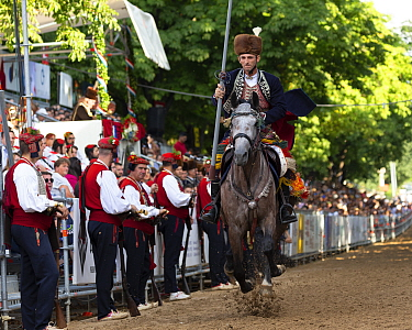 Man on horseback in traditional dress participating in Alka commemorations, crowd spectating in background. Held on the first Sunday in August since 1715 the Alka commemorates the victory of Christian...