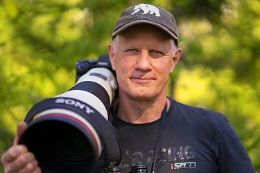 Photographer Staffan Widstrand with SONY Camera gear, Malingsbo-Kloten Nature Reserve, Vastmanland, Sweden. 2020
