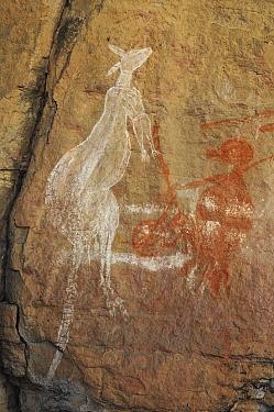 Aboriginal rock art depicting a kangaroo and human figure. Kakadu National Park, Northern Territory, Australia.