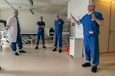 Anesthesia nurse Wim Merkx instructing the anesthesiologists on the use of the intubating room in the emergency department. This room was created especially to intubate Covid-19 infected patients and...