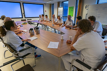 At noon there is a multidisciplinary meeting to evaluate all the patients of the ICU department Jeroen Bosch Ziekenhuis, Den Bosch, 's Hertogenbosch, The Netherlands March 2020. EDITORIAL USE ON...