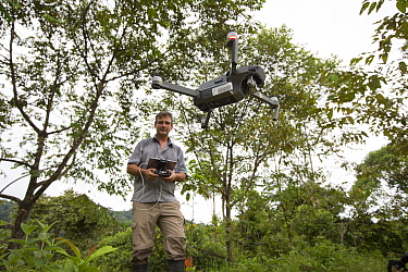 Botanist Dr. Anton Weissenhofer using a drone to survey, part of tropical rainforest regeneration project. Golfito, Costa Rica. 2018.