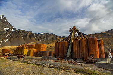 Rusty vats used to cook blubber and store oil at Grytviken, the largest former whaling station on South Georgia. November 2017.
