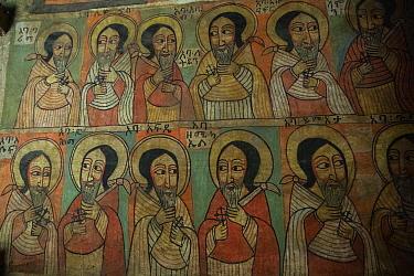 Painted mural in sanctum of Debre Sina Orthodox Church. Near Gorgora, Ethiopia. 2018.