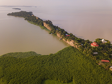 Aerial view of monastery surrounded by church forest on shore of Lake Tana, Tana Qirgos Island in distance. Church forests remain largely intact in a degraded landscape as they are considered sacred....
