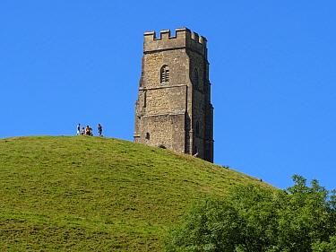 Glastonbury Tor and people, Glastonbury, Somerset, England, UK, July.