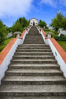 Stairs with 150 steps to 'Ermida de Nossa Senhora de Fatima' church. Located between San Pedro towards Santa Barbara. Santa Maria Island, Azores, Portugal, Atlantic Ocean