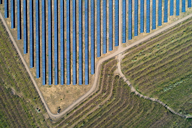 Aerial view of solar panels on top of a coal ash pyramid in East-Central Europe. After coal is burned in power plants, the waste ash is stacked and compacted into large pyramids, which may eventually...